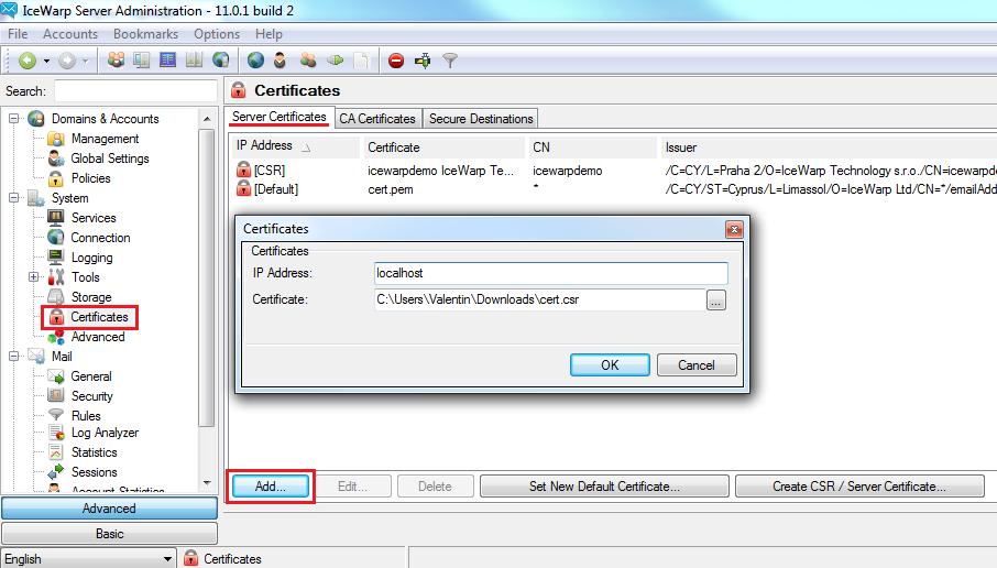 SSL Certificate Add
