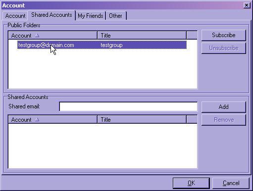 Groupware Shared Accounts Tab